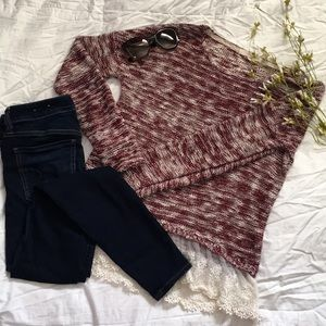 🌹maroon & white speckled sweater
